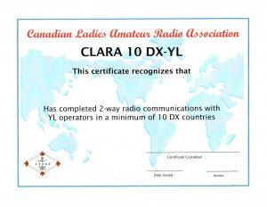 CLARA - 10 DX-YL Award